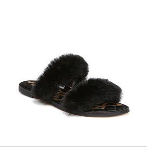Sam Edelman Griselda Fur Slide Sandals Black Sz 10